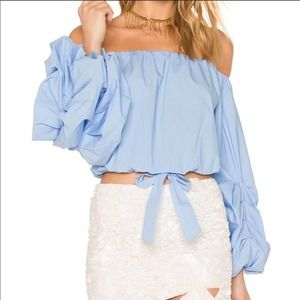 Lovers + Friends Silas Blue Off the Shoulder Top
